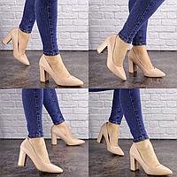 Туфли женские на каблуке бежевые Brandy 1626 Эко-кожа  Размер 40 - 25,5 см по стельке, обувь женская