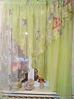 Красивая арка занавевеска Стелла зелень бабочка
