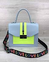 Сумка голубая портфель женская маленькая через плечо 58303, фото 1