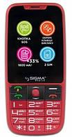 Кнопочный телефон для пожилых людей с клавиатурой на украинском языку на 2 сим Sigma Comfort 50 Elegance3 Red