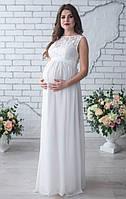 Белое свадебное платье без рукава для беременных