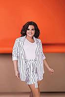 """Стильный женский костюм в полоску """"LEON"""" с шортами и пиджаком (большие размеры)"""