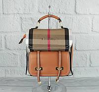 Стильный мини рюкзак-сумка Burb. 86122 в клетку коричневый, фото 1
