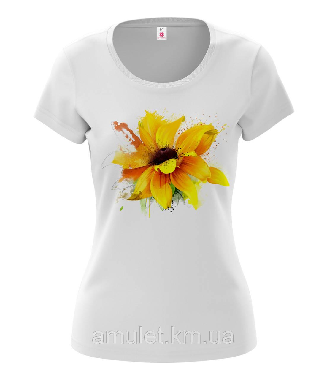 """Футболка жіноча з принтом """"Квітка соняшник"""""""