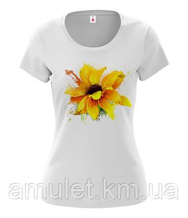 """Футболка жіноча з принтом """"Квітка соняшник"""", фото 2"""