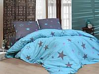 Красивое и качественное постельное белье, двухспалка, звезды на голубом