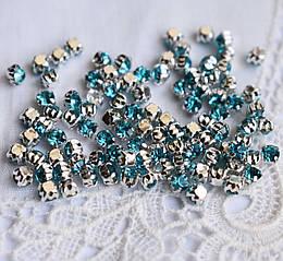 Стразы пришивные 3 мм голубые, стекло,10 шт