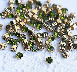 Стразы пришивные 4 мм оливковые, стекло,10 шт