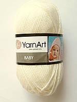 Нитки для в'язання пряжа акрилова дитяча Baby YarnArt, 100% акрил 50 гр., 150 м , молочний
