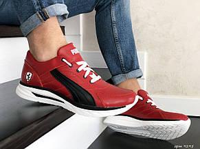 Кожаные кроссовки Puma, красные, фото 3