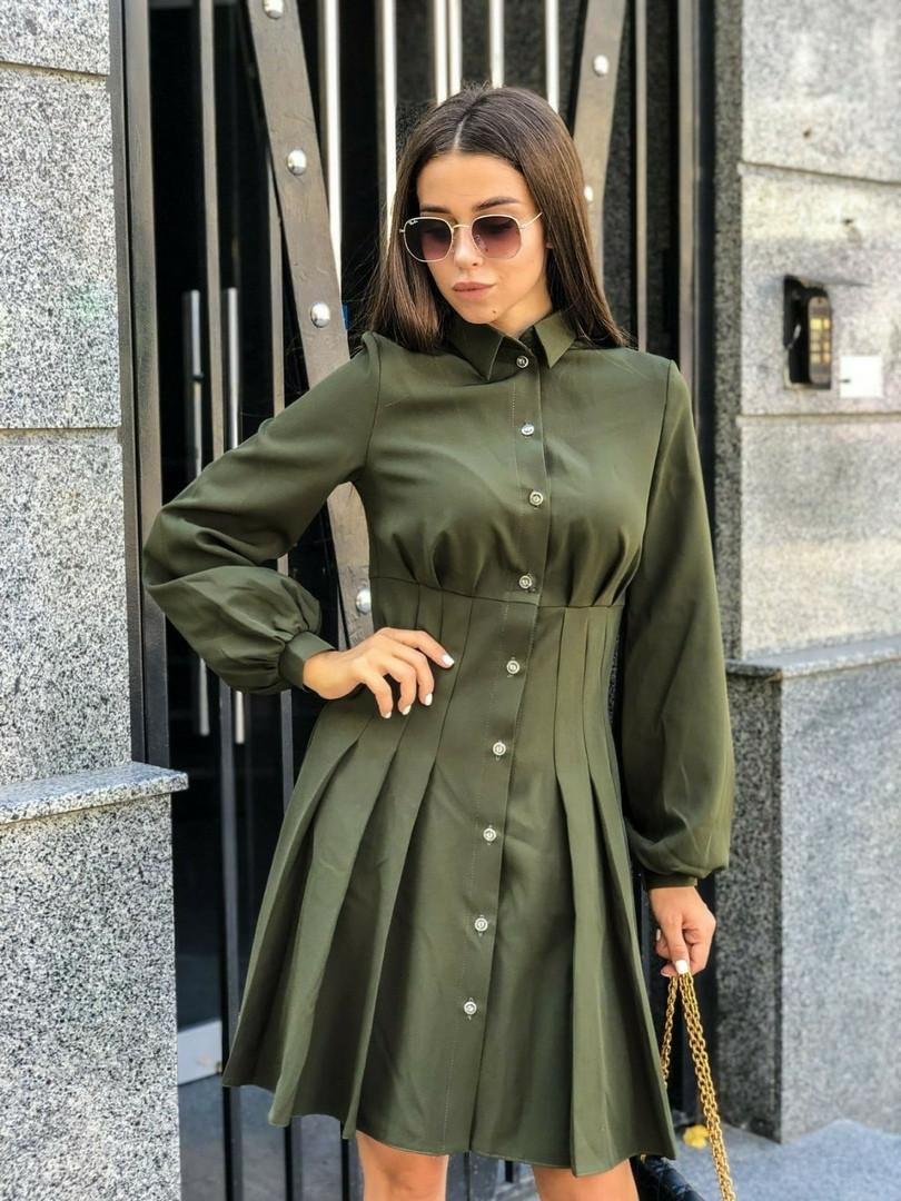 Платье женское хаки с пышным рукавом