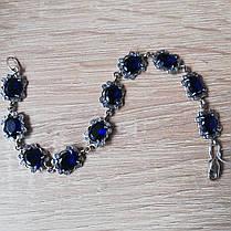 Cеребряный женский браслет с камнями, 205мм, фото 2