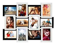 """Мультирамка """"Белое на черном"""" (12 фотографий). Рамка для фотографий, фоторамка, рамочка для фотографий"""