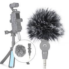 Ветрозащита Lesko для микрофона Saramonic SR-XM1 видеокамеры блогеров меховая