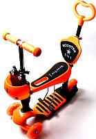 Детский самокат Scooter Божья коровка 5 в 1 Orange с родительской ручкой