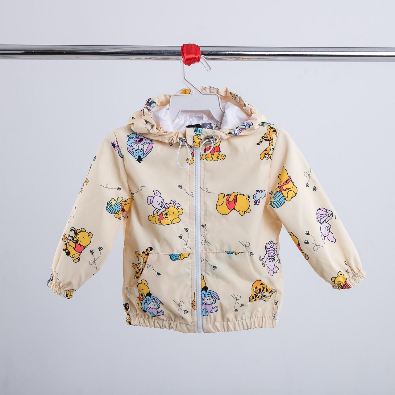 Бежевая тонкая детская куртка с персонажами из мультфильмов 86-134 р