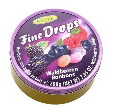 Льодяники з смаком лісових ягод Fine Drops Waldbeeren 200 г., фото 2
