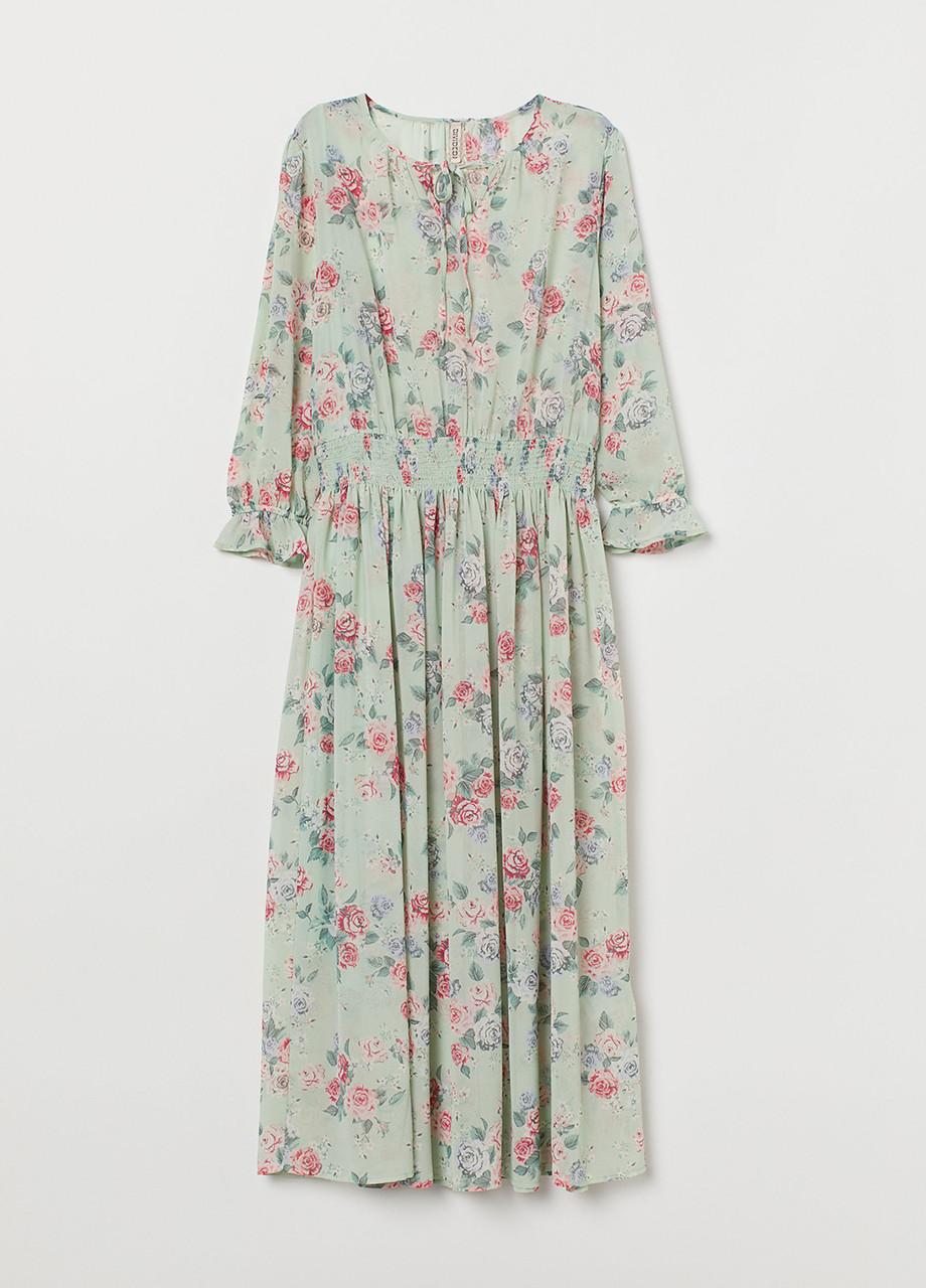 Светло-зеленое платье H&M с цветочным принтом