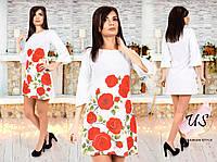 Женское белое трикотажное  платье с красными цветами. Розы, маки., фото 1