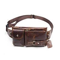 Чоловіча шкіряна сумка на пояс Marrant коричнева, фото 1