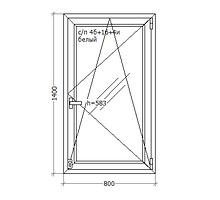 Металлопластиковое ПВХ окно, 800x1400, GoodWin VEKA Euroline 60, поворотно-откидное