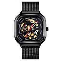 Skmei 9184 черные механические часы скелетон, фото 1