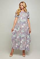 Длинное летнее женское платье в цветочном принте 50-56  размер, фото 2
