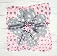 Шелковый шейный платок Fashion Вилена горох 70х70 см пудровый