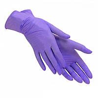 Перчатки нитриловые фиолетовые SEMPERCARE M-7-8 размер, 200 штук, без пудры, прочные