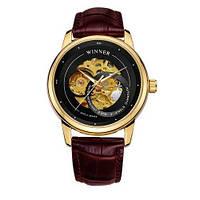 Winner 339 Gold-Black-Beige оригинальные наручные часы с годовой гарантией на механизм