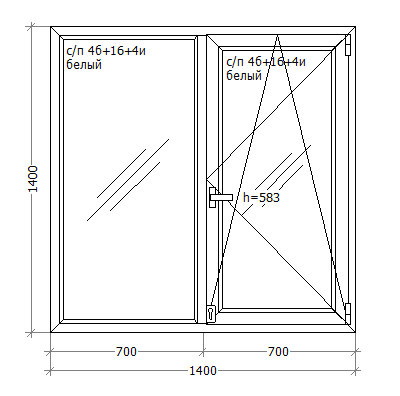 Металлопластиковое ПВХ окно, 1400x1400, GoodWin VEKA Euroline 60, поворотно-откидное