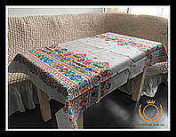 Скатерть для обеденного или кухонного стола - рогожка, натуральный хлопок с еффектом вышивки (220см*150см).