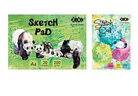 Альбом для рисования А4, 20 листов, 200гм2, клееный блок, ART Line ZiBi