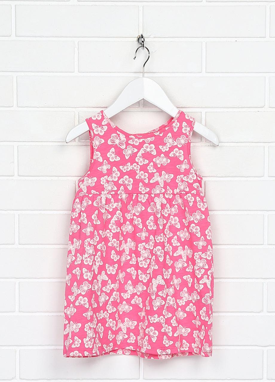 Малиновое повседневное платье H&M бабочки