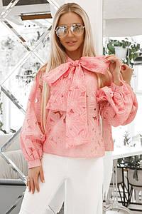 Летняя женская блузка из органзы с пышными рукавами