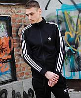 Спортивный костюм мужской весна Adidas черный. Живое фото. Реплика. В 3х цветах