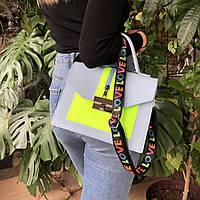 Женская сумка кросс-боди на плечо на широком ремешке голубая с желтым
