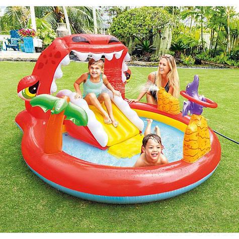 Игровой надувной центр для детей Intex Дино круглый с горкой и игрушками с высококачественного винила