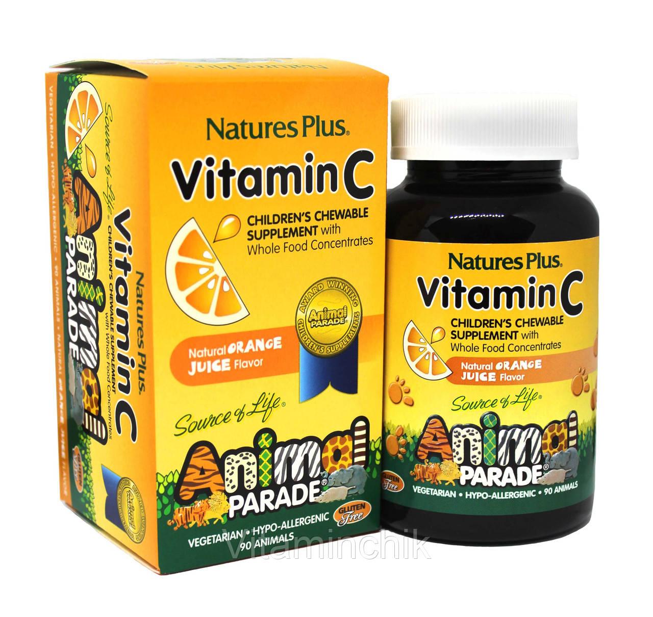 Витамин С для Детей, Вкус Апельсина, Animal Parade, Natures Plus, 90 жевательных таблеток