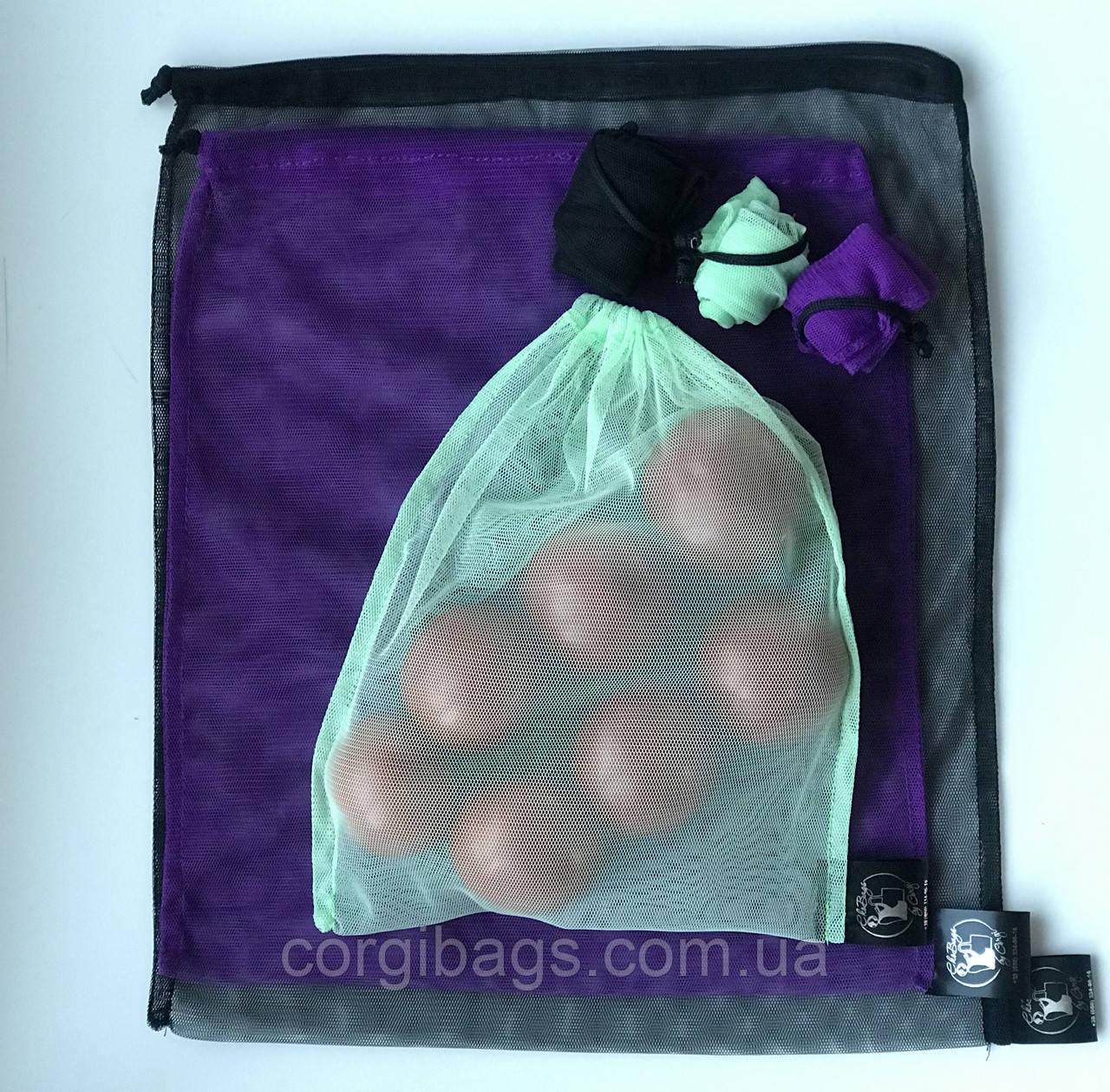 Многоразовые мешочки для продуктов, экомешочки,  сетчатые сумки для овощей и фруктов,  набор 6 штук