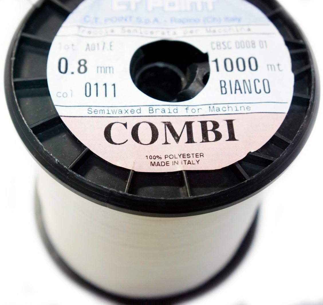 """НИТКА """"COMBI""""0,8мм воскована (1000 м.) біла BIANCO(0111)"""