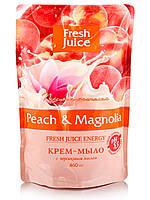 """Крем-мыло """"Персик и Магнолия """"  ТМ """" Fresh juice"""", 460 мл. Дой-пак"""