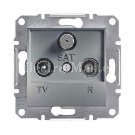 Розетка TV-R-SAT концевая (1 дБ) сталь Asfora Schneider