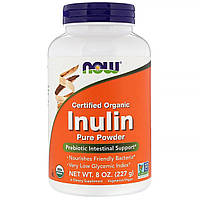 Инулин, Certified Organic Inulin, Now Foods, порошок, 227 гр