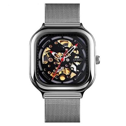 Skmei 9184 серебристые механические часы скелетон