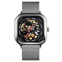 Skmei 9184 серебристые механические часы скелетон, фото 1