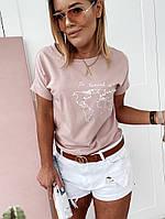 """Хлопковая женская футболка """"ORLANDO"""" с принтом и коротким рукавом (4 цвета)"""