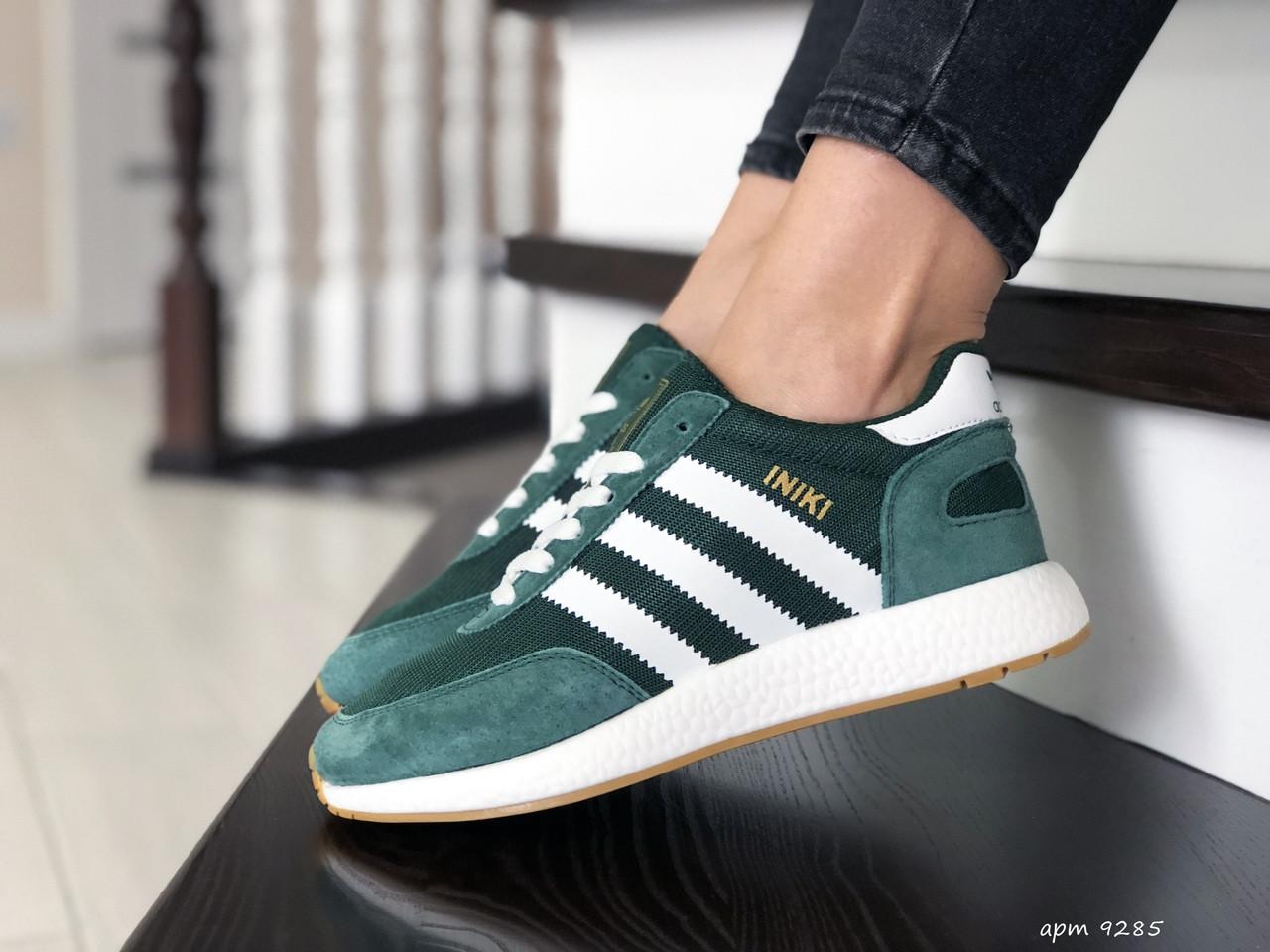 Женские (подростковые) кроссовки Adidas Iniki,зеленые с белым