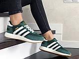 Женские (подростковые) кроссовки Adidas Iniki,зеленые с белым, фото 2