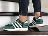 Женские (подростковые) кроссовки Adidas Iniki,зеленые с белым, фото 3
